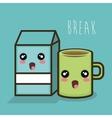 cartoon break milk box and mug coffee design vector image