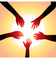 five hands around sun vector image