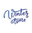 hand drawn lettering phrase winter time for card vector image