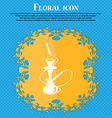 Hookah icon Floral flat design on a blue abstract vector image