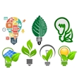 Light bulbs ecology icons and symbols vector image