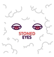 Marijuana stoned eyes on smoke clouds background vector image