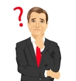 mature businessman has a question mark sign vector image