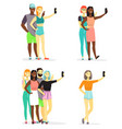young diversity people taking selfie flat vector image