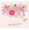 Ornament with flowers and birds vector image