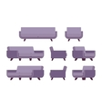 Set of retro lilac sofa and armchair vector image