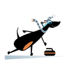 dog plays curling vector image