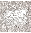 Menu cartoon hand lettering and doodles elements vector image