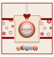Christmas bingo tag on red and cream background vector image vector image
