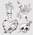 Cute tattoo set vector image