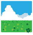 clovers meadow landscape in sunny day vector image