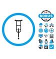 Crutch Flat Icon with Bonus vector image