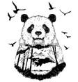 double exposure hand drawn panda partrait vector image