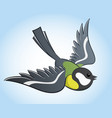 flying titmouse cartoon vector image