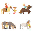 funny little kids riding ponies and taking care of vector image