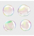 Set of multicolored transparent soap bubbles vector image