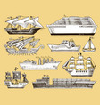 ship boat vessel sailboat cruise liner or vector image