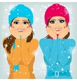 two attractive brunette women friends outdoors vector image