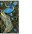 background with peacock with gold ornament vector image