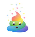 colorful funny rainbow poop cute excrement of vector image vector image