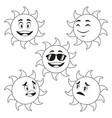 collection funny sun cartoon outline vector image