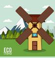 eco lifestyle windmill rural energy clean vector image