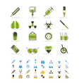 medical themed icons and warning-sign vector image vector image