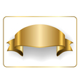 Gold satin ribbon on white 6 vector image