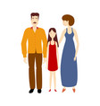 flat cartoon adult couple daughter isolated vector image