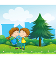 Lovers dating at the top of the hills vector image