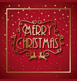 merry christmas card lettering deer and starry vector image