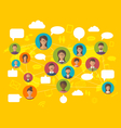 Social Network Concept on World Map with People vector image
