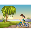Girl Riding Bike Background vector image