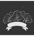 Emblem Trees and Ribbon vector image vector image