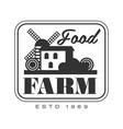 food farm product estd 1969 logo black and white vector image