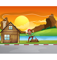 A woodman beside the wooden house vector image vector image