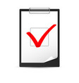 clipboard with checkmark of designer on white vector image