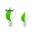 Ecology green light bulb with leaf vector image