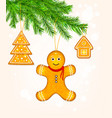 gingerbread cookies on christmas tree vector image