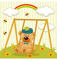 teddy bear on swing vector image