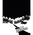 Black and white winter landscape with cottage in vector image vector image