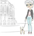 hipster fashionable girl with dog vector image