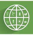 green planet with eco icons vector image