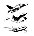 Black plane contour vector image