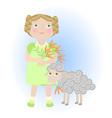 Cartoon girl with sheep aries zodiac sign vector image