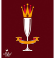 Champagne glass with beautiful royal crown vector image
