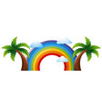colorful rainbow with two coconut trees vector image