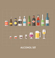 flat alcoholic set vector image