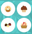 flat cake set of muffin sweetmeat doughnut and vector image
