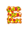 letter e pizza font italian meal alphabet vector image